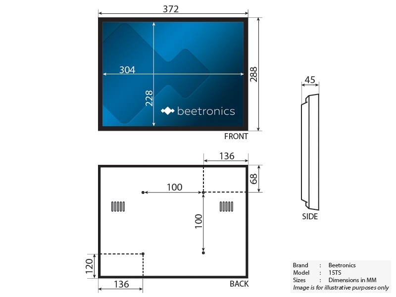 Zaktualizowano Monitor dotykowy 15 cali | Beetronics IF95